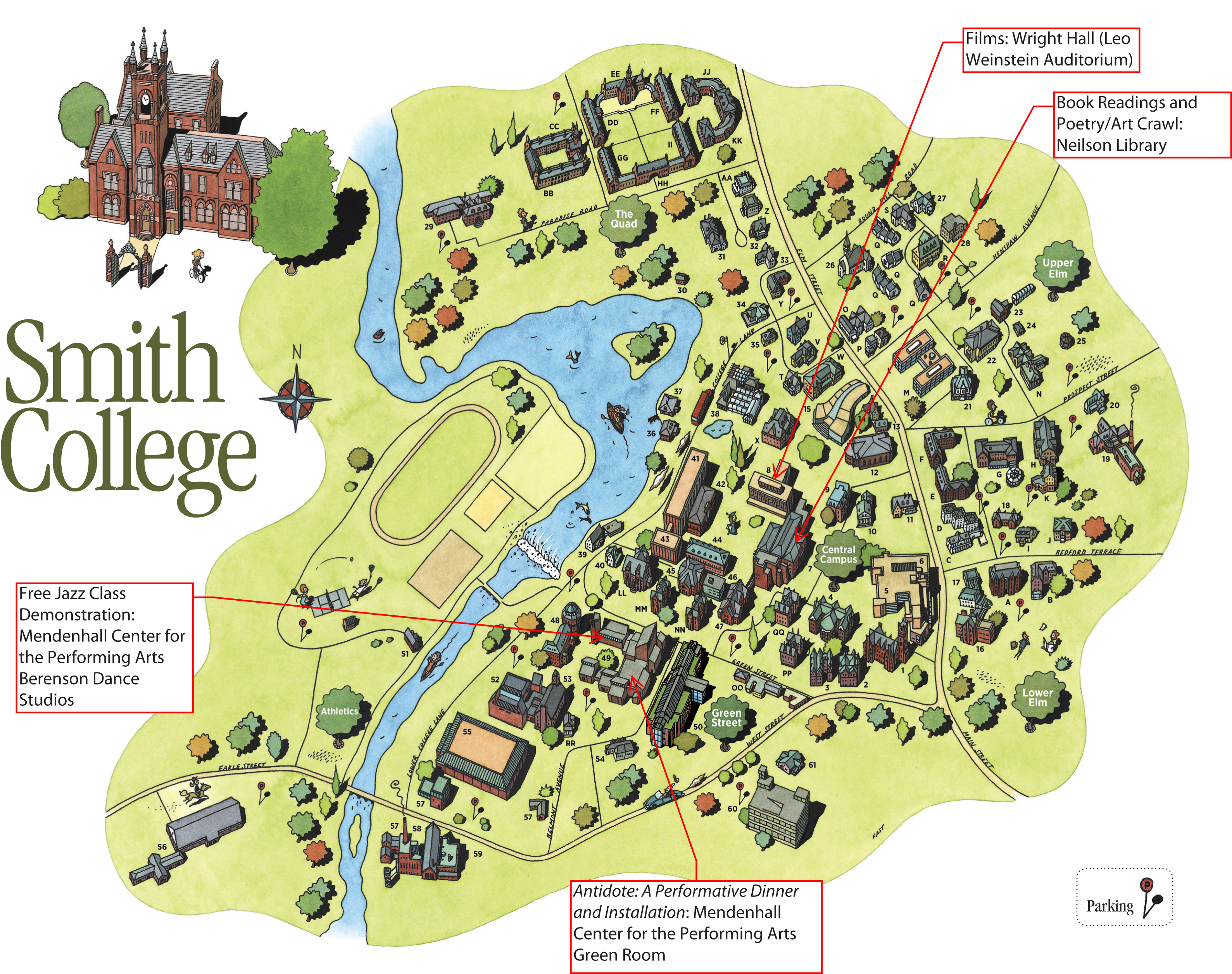 Festival Map for Smith College Campus